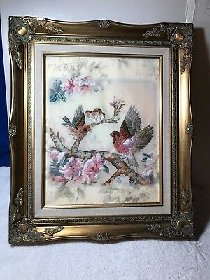 Vintage Hand Embroidered Puffed Framed Picture Birds & Flowers