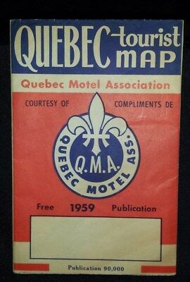 CANADA 1959 QUEBEC Motel Association Tourist-Visitor Map..Volkswagen Tour Buses