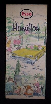 CANADA 1963 Hamilton & Wentworth..ESSO OIL Road Map..Vintage Cars..Excellent !