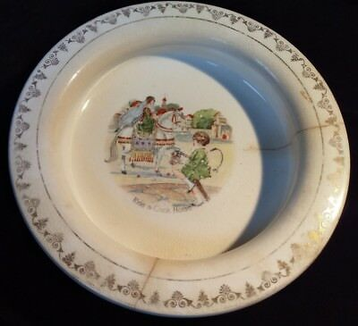 Antique Holdfast Baby Plate - Ride a cock horse to Banbury Cross - Child Dish