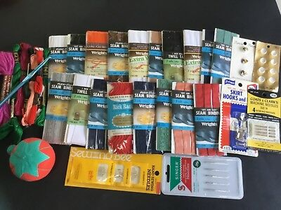 Vintage large lot of  sewing notions, needles, bias tape, buttons etc.