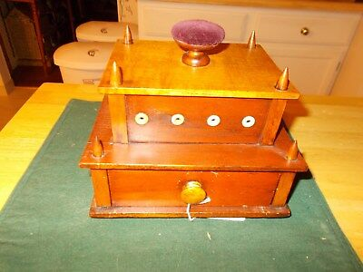 Early 1900S Shaker Made Sewing Box With Thread Holders, Drawer And Pincushion
