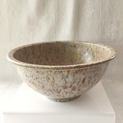 "Texas Ware Bowl Speckled Splatter Melamine Browns Blue Confetti #118 10"" GUC"