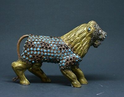 Antique Tibetan / Nepalese Turquoise Beaded Brass Lion Figurine ~ 4 Inches Tall