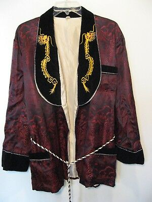Vintage Satin Smoking Jacket DRAGON VELVET LAPEL sash belt Vietnam Tour M NOS