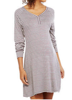 Nuture by Lamaze Maternity Long Sleeve Nursing Striped Night Shirt Gown, Large