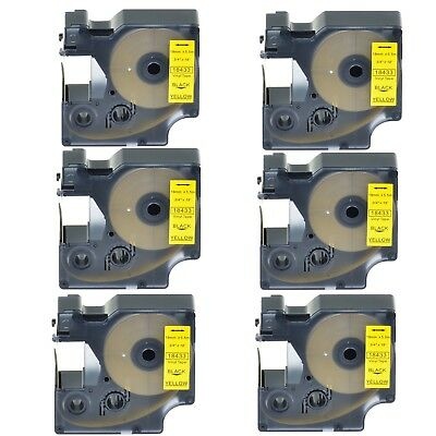 "6PK 18433 Black on Yellow Vinyl Label 3/4"" for DYMO RHINO 4200 5200 6000 Printer"