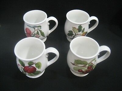 "PORTMEIRION England POMONA Pattern 4- Different Footed BRISTOL MUGS  4 3/4"" Tall"