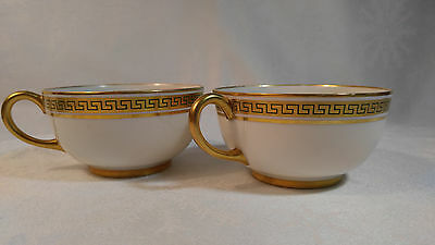 Antique Jean Pouyat J & P Limoges France Porcelain  Greek Key Design TWO Teacups