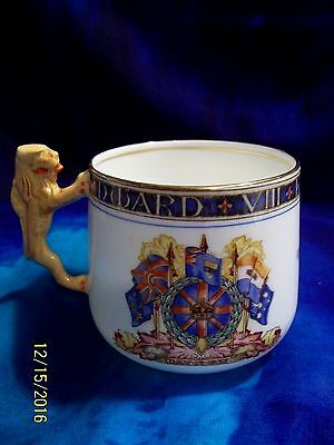 "1936 1937 Paragon China  King Edward VIII Brown Lion Handle Cup , 3 1/4"" TALL"
