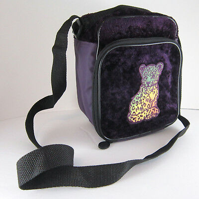 Vintage Velvet Lisa Frank Cheetah Leopard Cat Lunchbox Box Pale Cooler Bag Purse