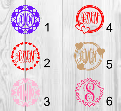 Hearts Personalized Monogram Vinyl Decal 3x3 A