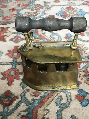 Brass Coal Iron With Wooden Handle Antique Vintage