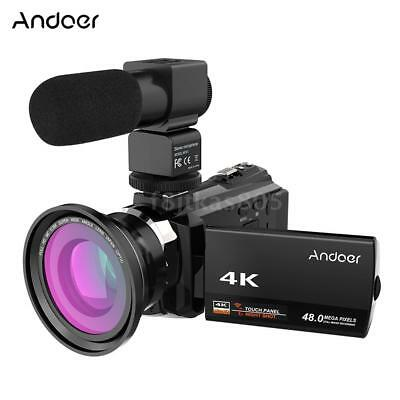 Andoer 4K 1080P 48MP WiFi Cámara video digital Grabadora de videocámara 16X Zoom
