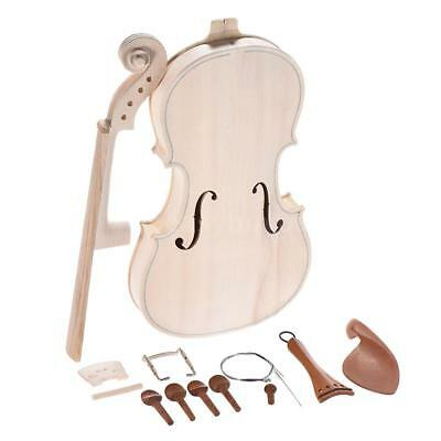 Full Size 4/4 Natural Solid Wood Acoustic Violin DIY Set Build Your Own Kit G4C6