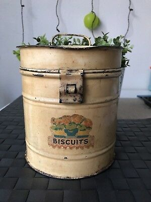 Antique Vintage Biscuit Tin Barrel Country Style Collectable #SundayMarket
