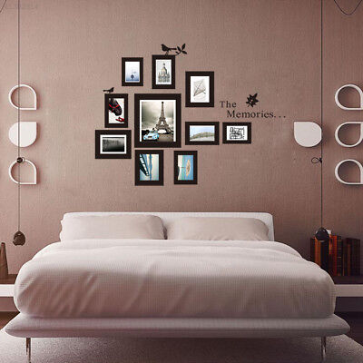 Hot 10x Picture Photo Frame Wall Mural Black Wedding Photos Frames Sticker Decal