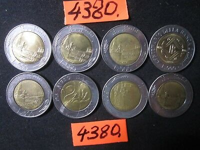 8  x   COINS 500lira bi metal 90's ers  Mar4380 from  ITALY  72gms