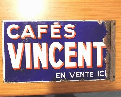 FRENCH CAFE DOUBLE SIDED ENAMEL ADVERTISING SIGN. CAFE VINCENT 40.5cm X 22cm