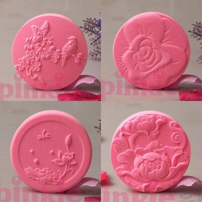 Flowers Handmade Silicone Soap Mold Round Candle Mould for DIY Craft Plaster Wax