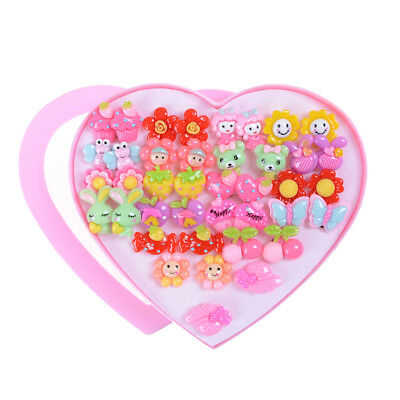 20 Pairs Cute Clip-On Non Pierced Earrings For Kids Child Girls Christmas Gift