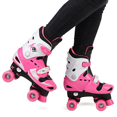 Children's Roller Skates Girls' Adjustable Quad Boots 10/11/12/13 UK | 28-31 EU