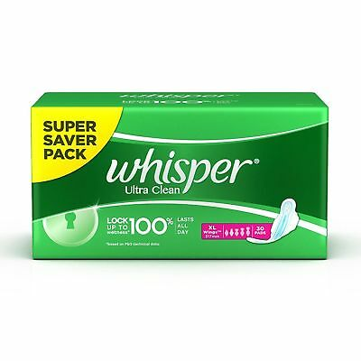 Whisper Ultra Clean XL Wings Sanitary Pads - 30 Pads  | Free Shipping