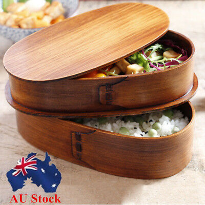 2 Layer Japan Style Lunch Box Business School Bento Picnic Wood Food Container