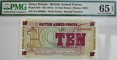 BRITISH MILITARY ARMED FORCES 10p NOTE VOUCHER PMG 65 Uncirculated 1972 Britain