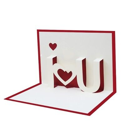 3D Pop Up I LOVE YOU Greeting Cards Happy Birthday Lover Valentines Anniversary