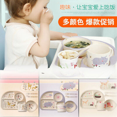 5x Bamboo Fibre Kids Meal Set Feeding Time Baby Dish Plate Cup Cutlery
