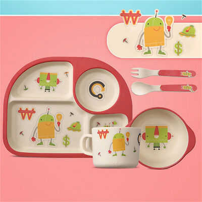 Kids Meal Set Feeding Time Baby Dish Plate Cup Cutlery Bamboo Fibre BPA Free