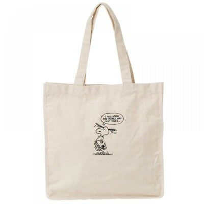 13ce8d66a4 New PEANUTS × ROOTOTE Grande canvas embroidery (Dance) White Snoopy Cute  Japan
