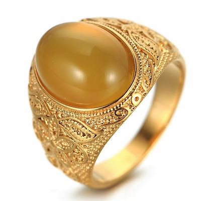 Men Vintage Gold Stainless Steel Oval Tiger Eye Stone Patterned Band Ring #8-#12