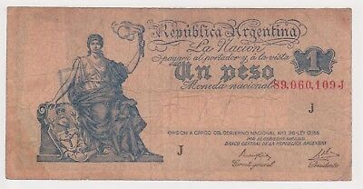 (N15-7) 1947 Argentina 1 peso bank note (G)