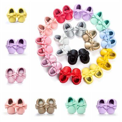 Girl Baby Tassel Bowknot PU Leather Shoes Soft Sole Crib Moccasin Walker 0-18M