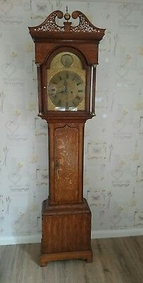 William Robson,  North Shields 8 Day Brass Face Oak Case Longcase Clock G.W.O