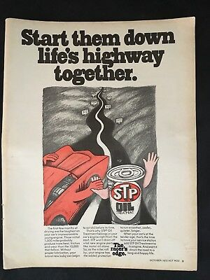 STP Oil Treatment Illustrated Highway Auto Maintenance 1970 Vtg Magazine Ad