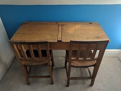Incredible Antique Vintage Double Wooden School Desk With Ink Wells Lift Up Lids Interior Design Ideas Ghosoteloinfo