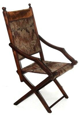 Antique Mahogany Folding Campaign Chair - Free Shipping [PL4024]
