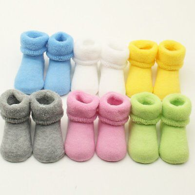 Newborn Baby Girl Boy Winter Warm Socks Toddler Infant Soft Cotton Sock Shoes UK