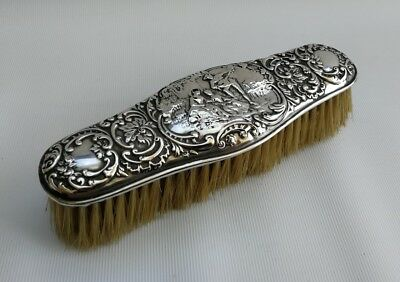 Vtg 1903 Levi & Salaman Art Nouveau Solid Silver Romantic Scene Clothes Brush