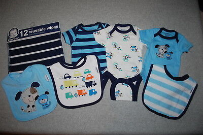 Boys BABY SHOWER LOT Blue White PUPPY DOGS Bodysuit T-Shirts Wipes Bibs PREEMIE