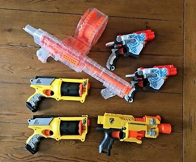 Lot Of 6 Nerf Guns, Raider CS-35, Vortex Proton, Maverick Rev 6, barricade rv 10