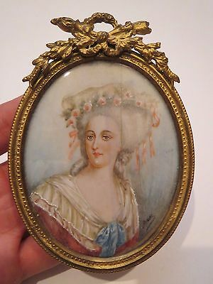 Antique Hand Painted French Miniature Portrait 18th Century Signed