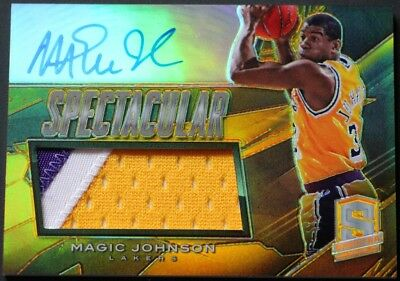 Magic Johnson AUTO PATCH /10 2013-14 Spectra Spectacular Swatch Signatures Gold