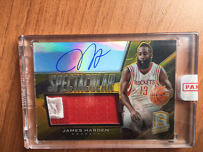 James Harden AUTO PATCH /10 2013-14 Spectra Spectacular Swatch Signatures Gold