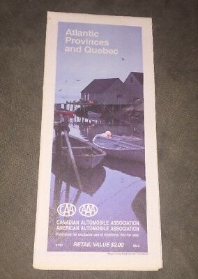 1988 AAA/CAA Map Of Atlantic Provinces & Quebec