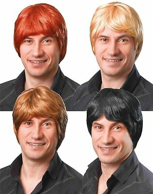 Adult Short Boy Band Wig Mens 60s 70s 80s 90s Fancy Dress Hair Accessory New