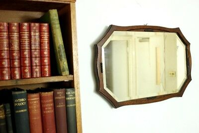 Antique Oak Framed Bevelled Over Mantel Wall Mirror - FREE Delivery [PL4557]